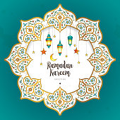Vector Ramadan Kareem card. Vintage banner with lanterns for Ramadan wishing. Arabic shining lamps, crescent, stars. Decor in Eastern style. Islamic background. Cards for Muslim feast of the holy of Ramadan month.