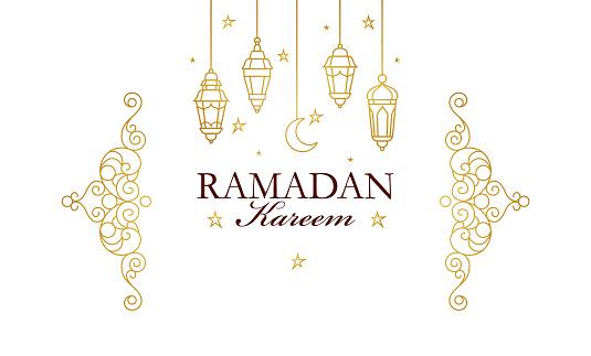 Vector card for Ramadan Kareem greeting.