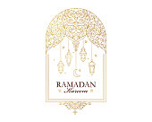 Vector Ramadan Kareem card. Vintage banner for Ramadan wishing. Arabic  lamps, crescent, stars. Gold emblem in Eastern style. Islamic background. Badge for Muslim feast of the holy of Ramadan month.