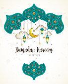 Vector Ramadan Kareem card. Vintage banner with lanterns for Ramadan wishing. Arabic shining lamps, crescent, stars. Decor in Eastern style. Islamic background. Muslim feast of the holy of Ramadan month.