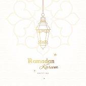 Ornate vector card, vintage lanterns for Ramadan wishing. Arabic shining lamps. Outline decor in Eastern style. Islamic background. Ramadan Kareem greeting card, advertising, discount, poster, banner.