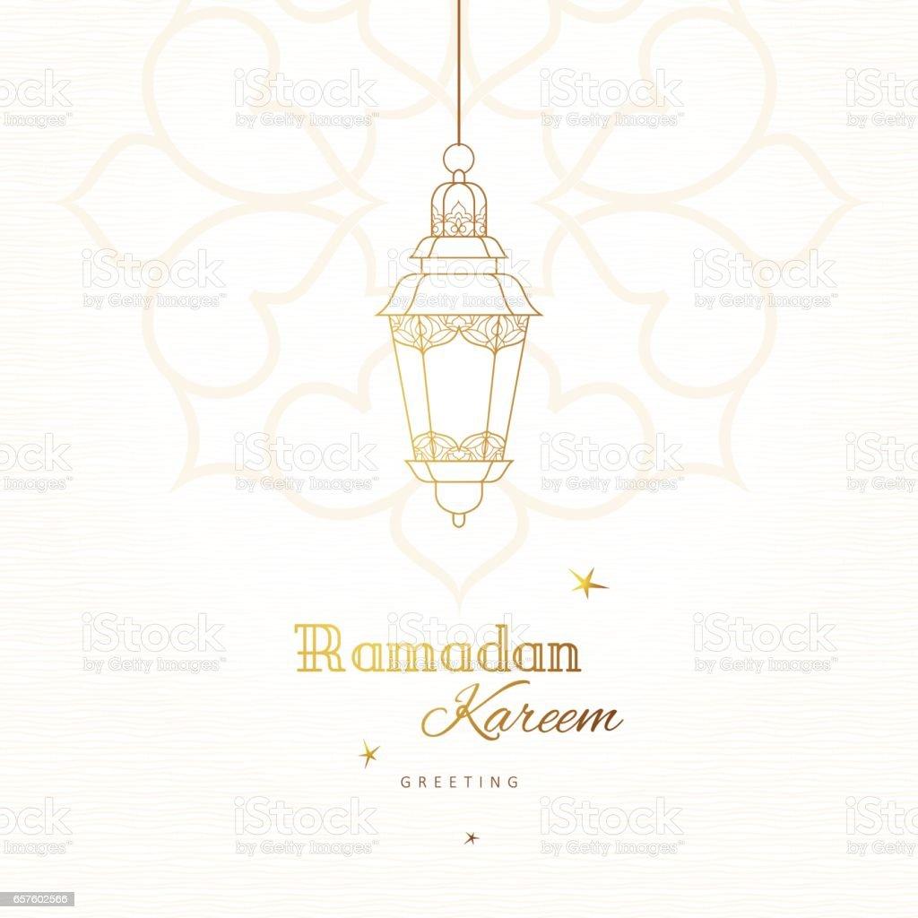 Tarjeta de vector de Ramadán Kareem saludo. - ilustración de arte vectorial