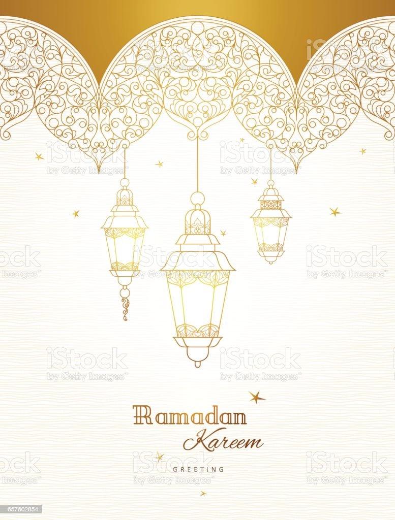 Vector card for Ramadan Kareem greeting. vector art illustration