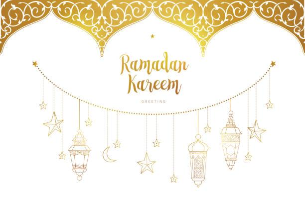 vektor-karte für ramadan kareem gruß. - ramadan kareem stock-grafiken, -clipart, -cartoons und -symbole