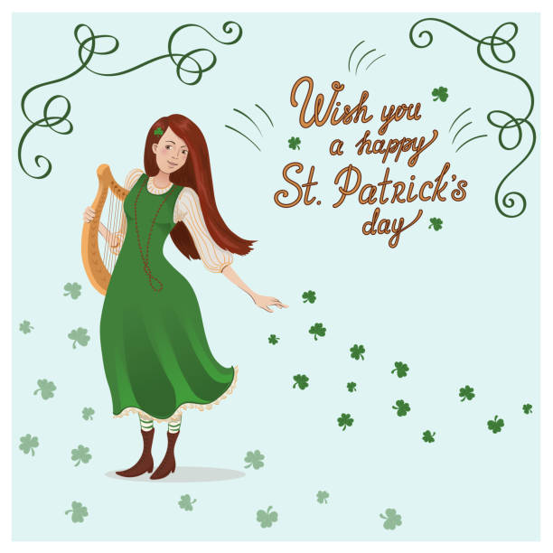 Vector card for St. Patricks day. An irish girl in a green dress with a harp. Vector card for St. Patricks day. An irish girl in a green dress with a harp. Cartoon character and lettering. ARPA stock illustrations