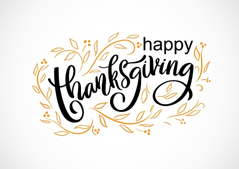 Vector card Happy Thanksgiving day. Handwritten lettering typography poster with doodle autumn leaves. Celebration quotation on white background for greeting card, invitation, sale, logo, badge.