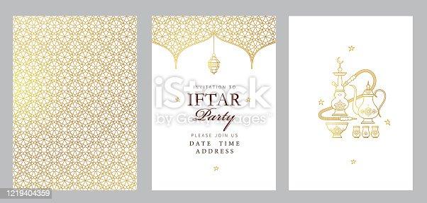 istock Vector card Iftar Party celebration, Iftar invitation. Ramadan greetings 1219404359