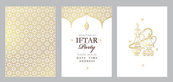 Vector card Iftar Party celebration, Iftar invitation. Ramadan greetings