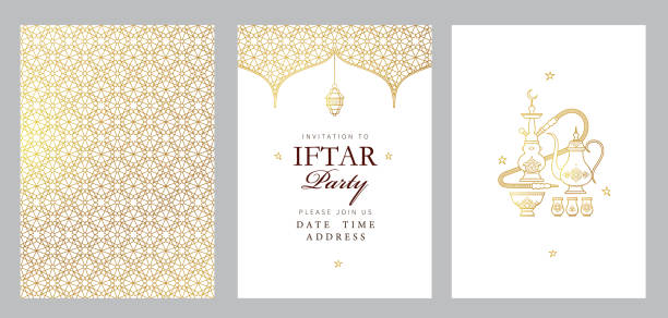 Vector card Iftar Party celebration, Iftar invitation. Ramadan greetings Vector cards set Iftar Party celebration, invitation. Arabic decoration, lantern, coffee pot for Iftar invitation. Card for Muslim feast of the holy of Ramadan month. Ramadan Kareem. Eastern style ramadan stock illustrations