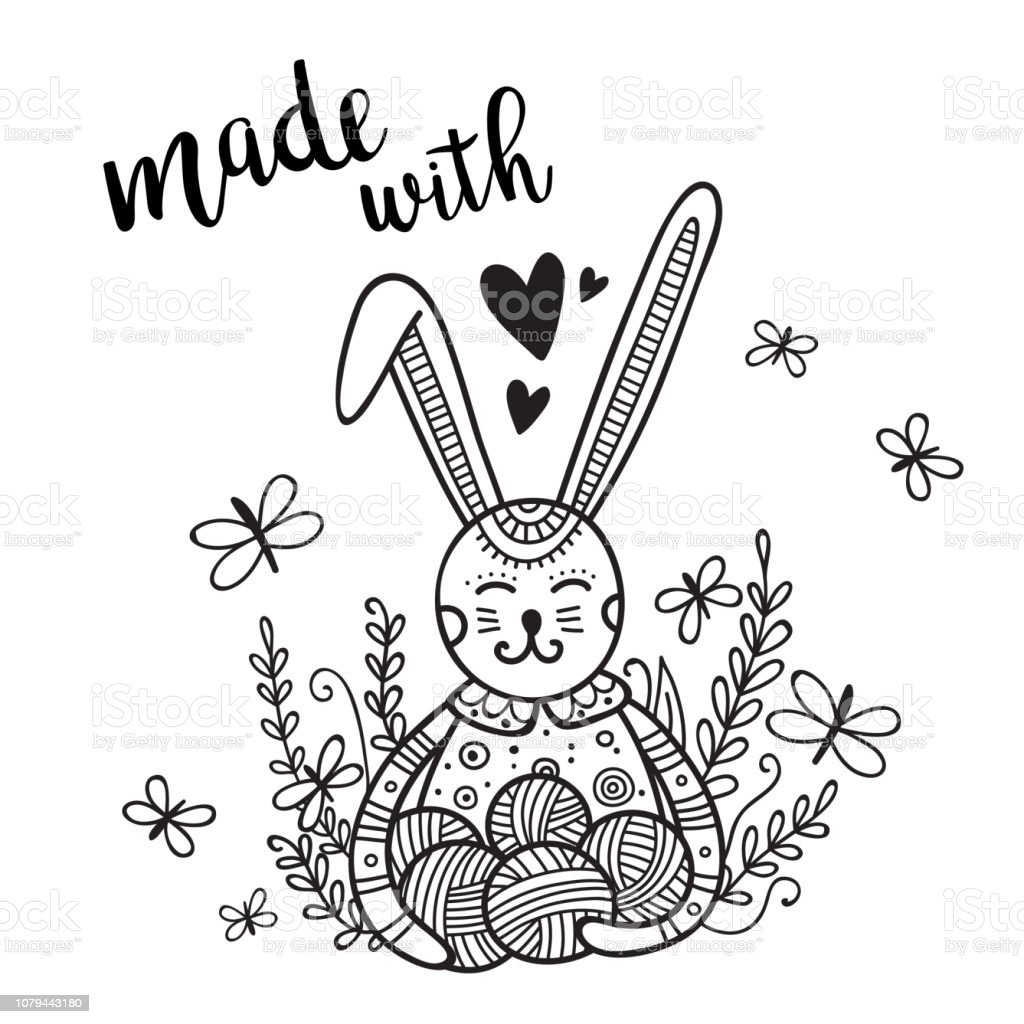 Vector card knitting theme with cute bunny and lettering vector art illustration