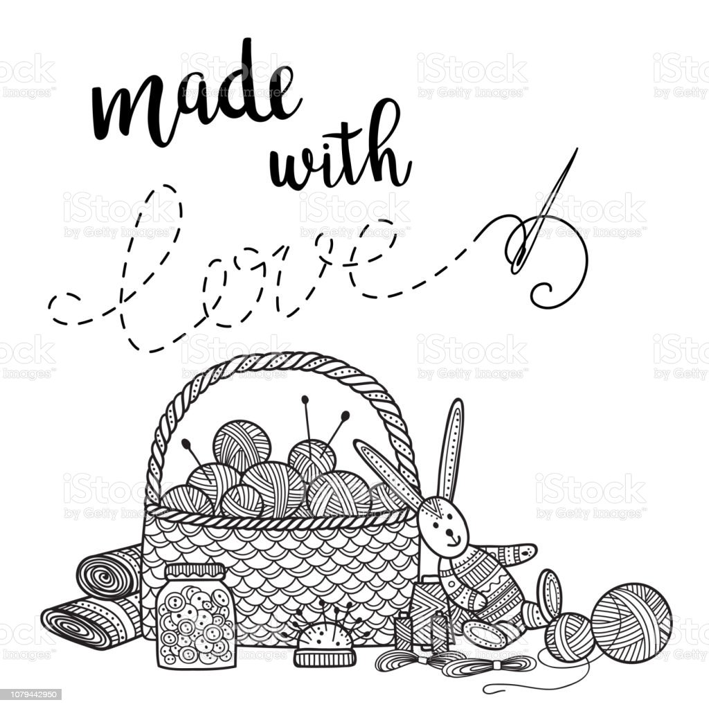 Vector card knitting theme with needlework tools and lettering vector art illustration