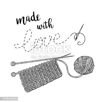 Vector card knitting theme with yarn and lettering. Can be printed and used as banner, card, placard, sticker, invitation, design template, label, coloring page