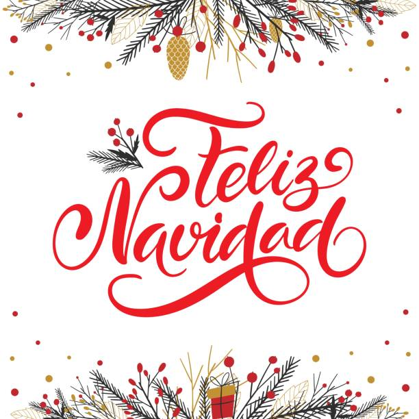 Vector card Merry Christmas translation on Spanish language Feliz Navidad. Xmas poster with winter season decoration on white background. Christmas greeting for celebration, web site, social media. Vector card Merry Christmas translation on Spanish language Feliz Navidad. Xmas poster with winter season decoration on white background. Christmas greeting for celebration, web site, social media. navidad stock illustrations
