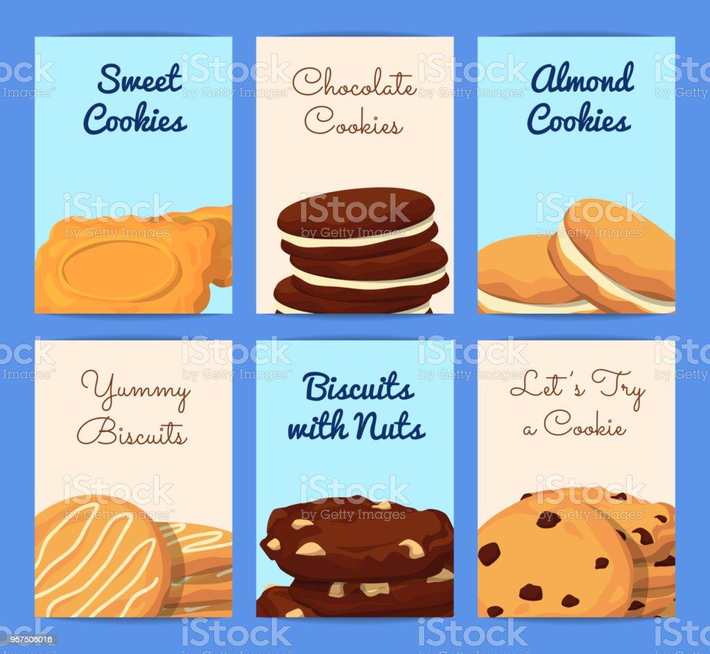 Vector Card Or Flyer Templates Set With Cartoon Cookies Stock Vector