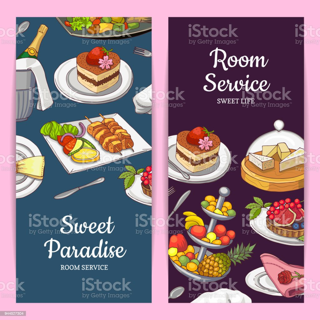 vector card or flyer templates with hand drawn restaurant or room
