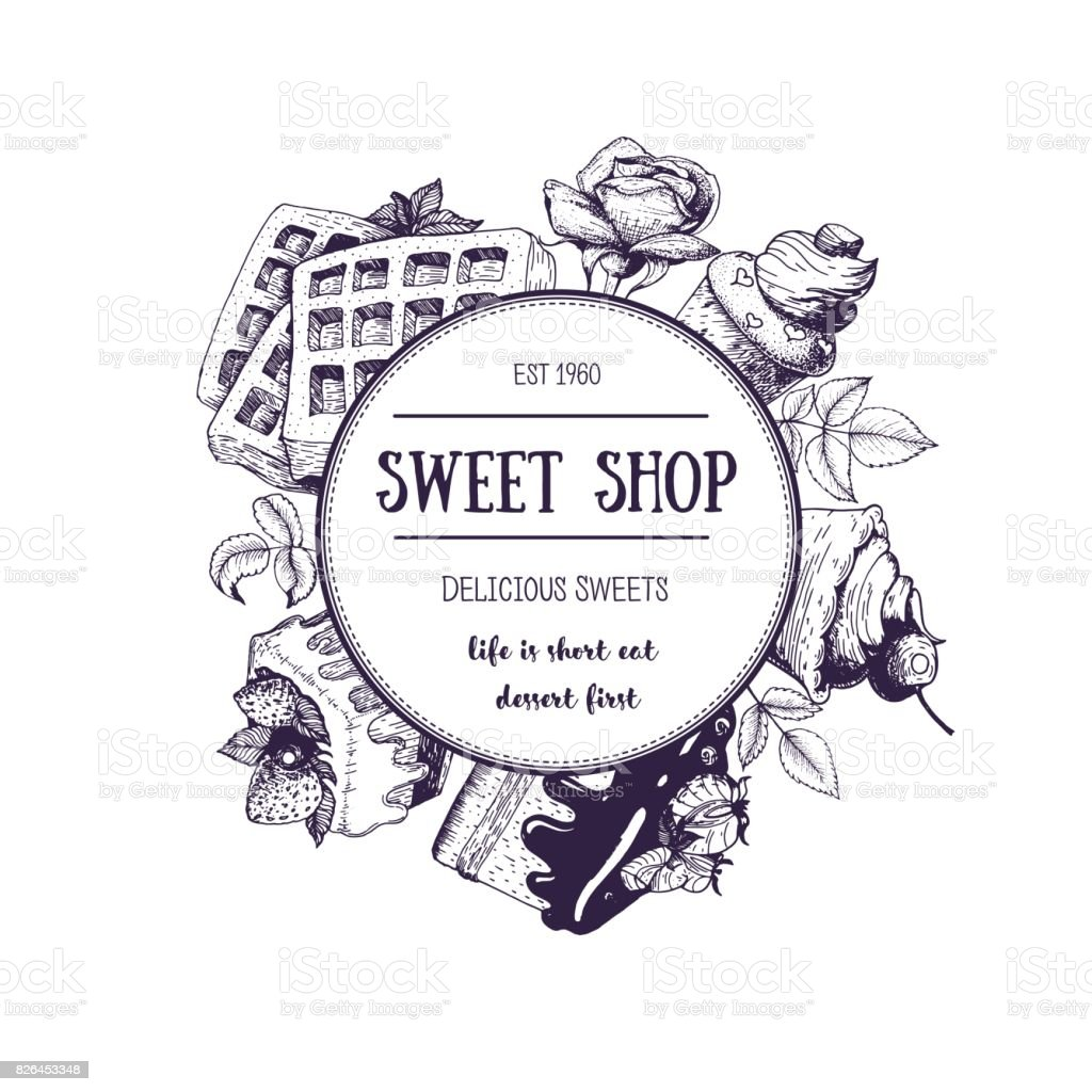 Vector card or invitation design template. Ink hand drawn desserts. Sketch for cafe menu or sweet shop. Vintage vector frame in linear style. Circle concept of confectionery. vector art illustration