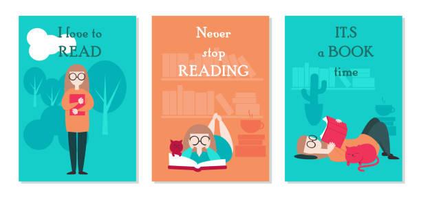 stockillustraties, clipart, cartoons en iconen met vector kaart instellen met jonge vrouw leesboek - woman home magazine