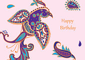 Vector card design in Paisley style. Drawn bird with feathers near by and text is on the right. Great for postcard, greeting, wedding and invitation cards, placing text.