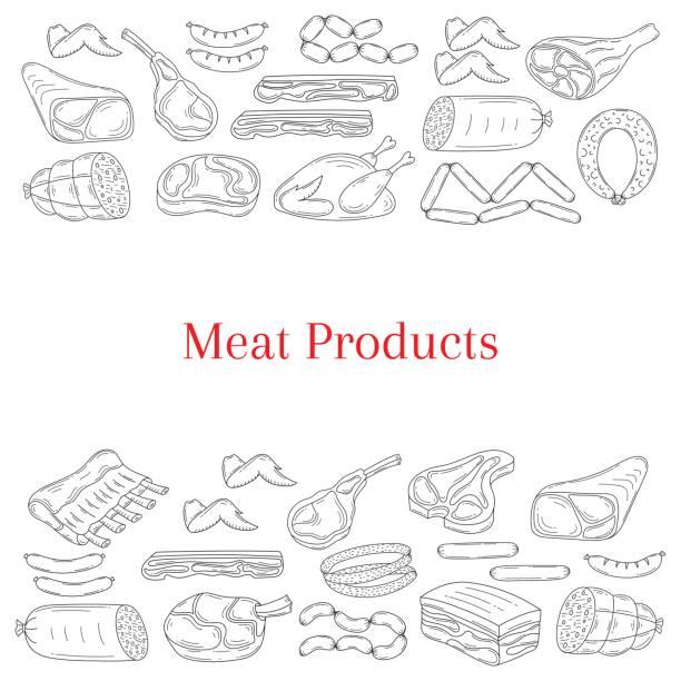 vektor-kartenvorlage mit verschiedenen arten von fleischerzeugnissen - schweinebauch stock-grafiken, -clipart, -cartoons und -symbole