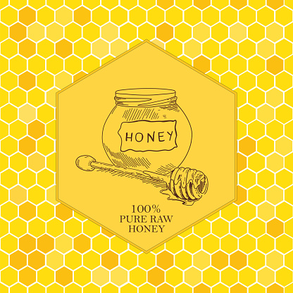 Vector card template with honey stick sketches hand drawn and seamless pattern.