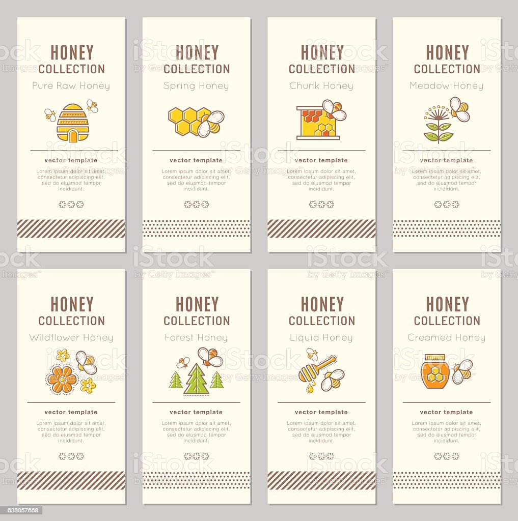 Vector card template with natural honey tags vector art illustration