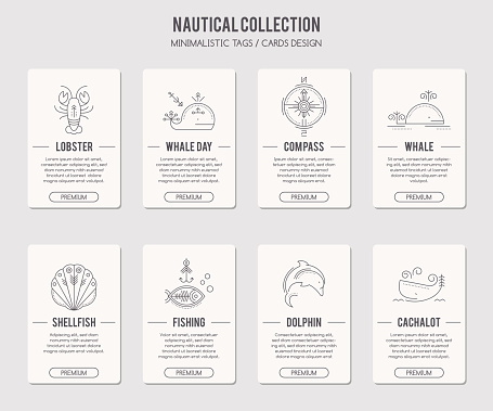 Vector card template with thin line style illustration marine animals