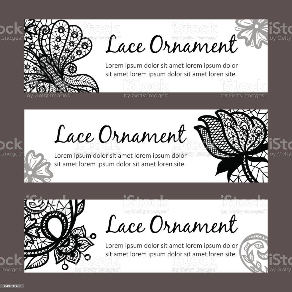 Plantillas De Tarjeta De Vector Con Ornamento De Encaje Diseño De ...