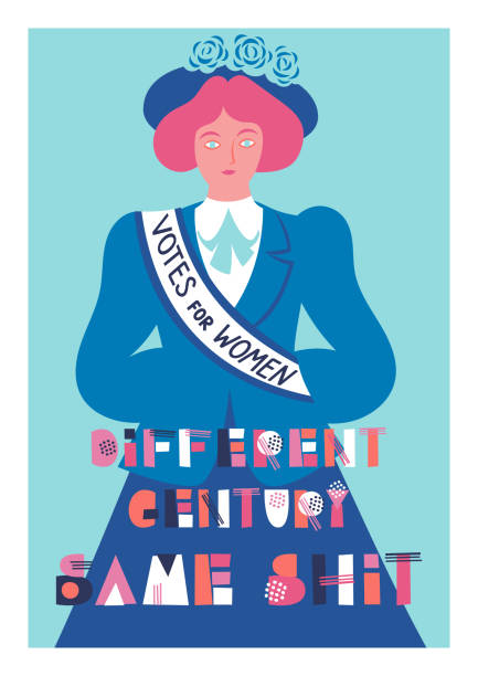 """Vector card Vector card for women's day 8 march with a suffragette and lettering """"Different century - same shit"""" women's suffrage stock illustrations"""