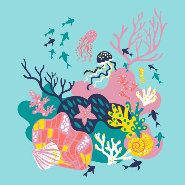 Vector card The hand-drawn vector illustration with a carefree mermaid, corals, seashells, jellyfish and seaweed. marine life stock illustrations