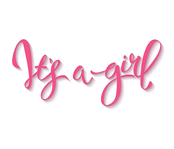 vector card Calligraphy lettering It's a girl. Vector hand drawn invitation to the baby shower for a girl it's a girl stock illustrations