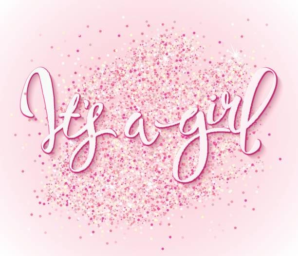 vector card Calligraphy lettering It's a girl. Vector hand drawn invitation to the baby shower for a girl with  pink glittering confetti it's a girl stock illustrations