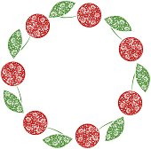 Vector card with berries. Empty round form with ornamental cherries. Decorative frame. Series of Cards, Blanks and Forms.