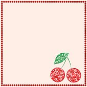 Vector card with berries. Empty square form with ornamental cherries, leaves and border with dots. Decorative frame. Series of Cards, Blanks and Forms.