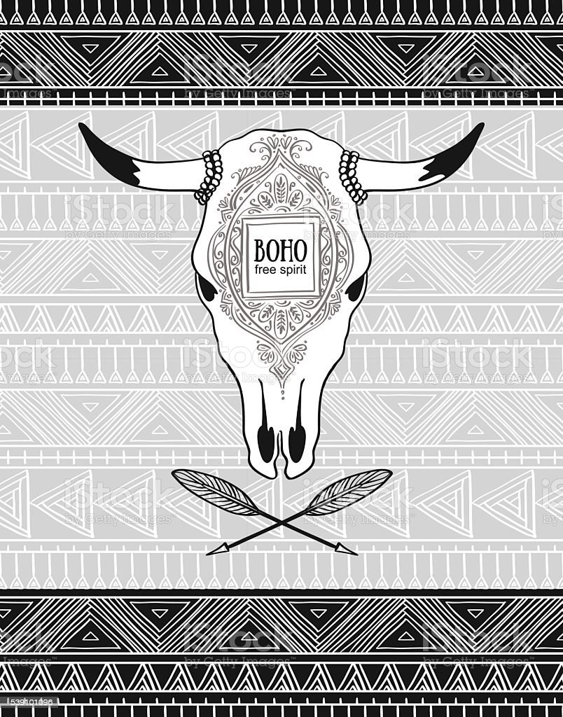 Vector card with crossed ethnic arrows and bull skull. vector art illustration