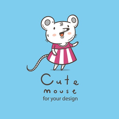 Vector card with  cute cartoon mouse in dress. Doodle animal poster. Funny fashion print. Childrens contour illustration.