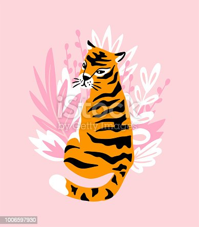 Vector card with cute tiger on the pink background and tropical leaves. Beautiful animal print design for t-shirt.  Fashionable poster for home decor.