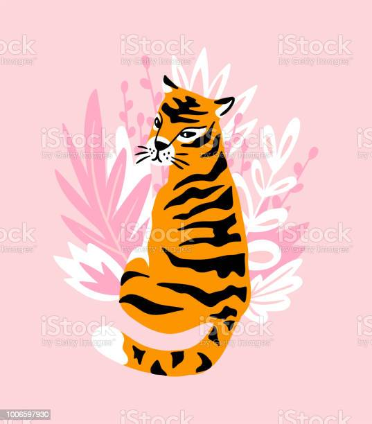 Vector card with cute tiger on the pink background and tropical vector id1006597930?b=1&k=6&m=1006597930&s=612x612&h=ddtuo0otif0am4obld ox7lg1ylor5517kfs4ak84p0=