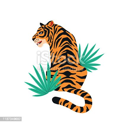 Vector card with cute tiger on white background and tropical leaves. Beautiful animal print design for t-shirt.