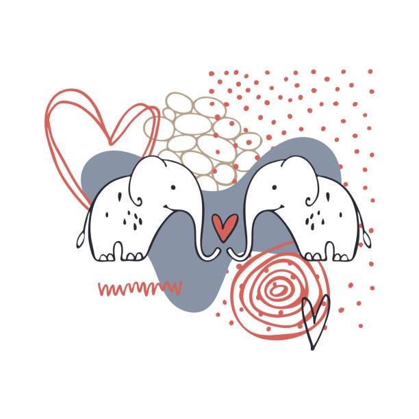 ilustrações, clipart, desenhos animados e ícones de cartão vetorial com elefantes. cartões de dia dos namorados. - conceitos e temas