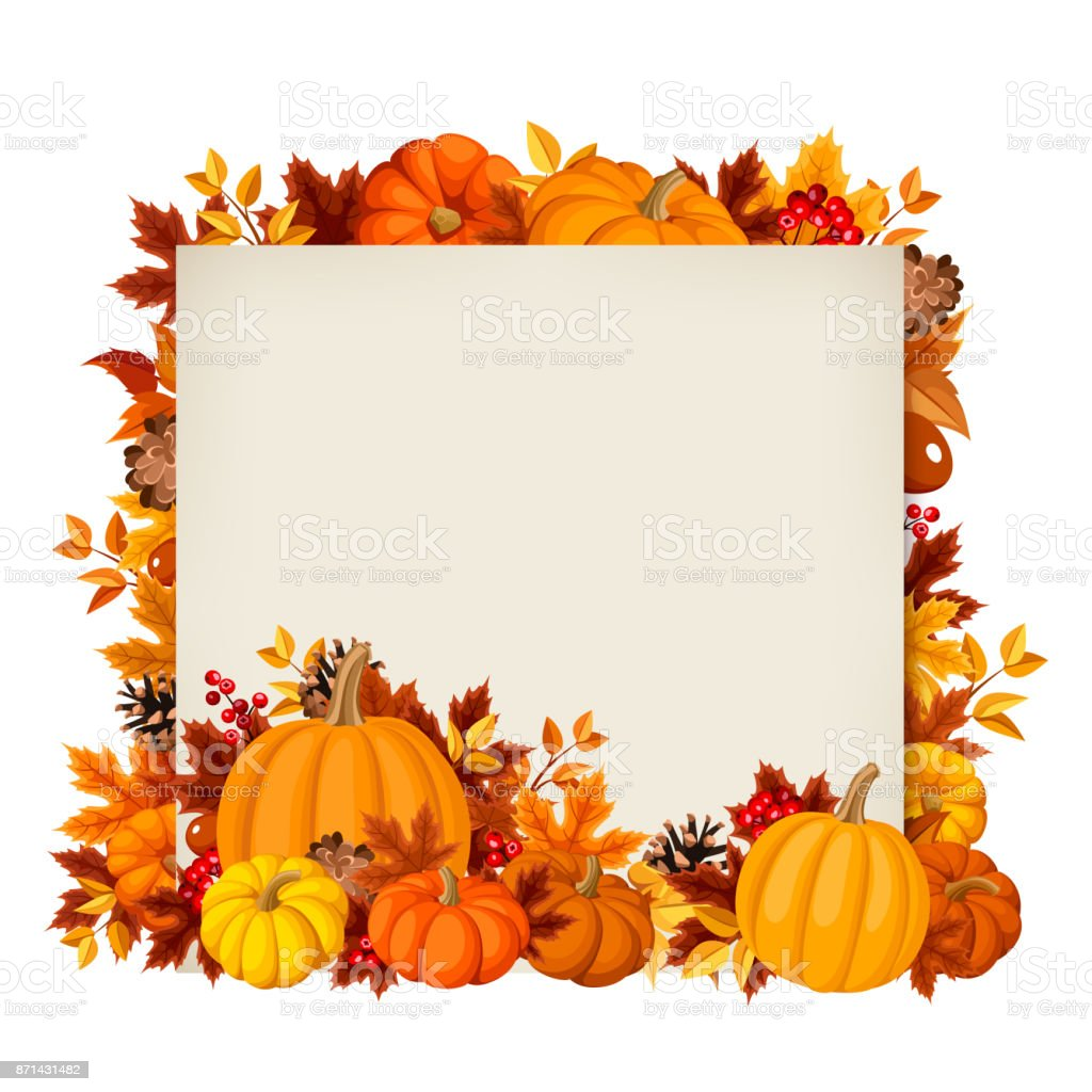 Vector card with pumpkins and autumn leaves. vector art illustration
