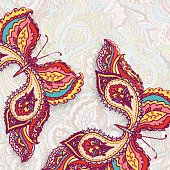 Vector card with two decorative colorful butterflies on a seamle