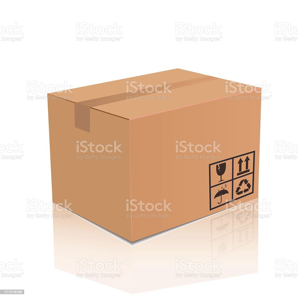 Vector cardboard box vector art illustration