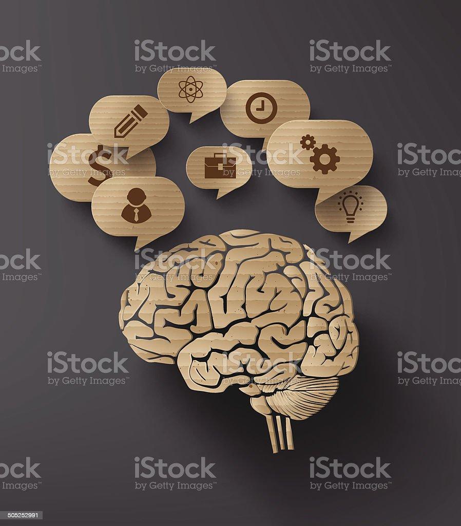 Vector Cartón De Burbujas De Discurso Y Cerebrales Illustracion ...