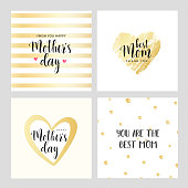 Vector set of square cards for Mother's day. Gold contour heart with little hearts. Vector illustration. Vector card, badge for Mother's day. Love Mom concept. Happy Mother's day.