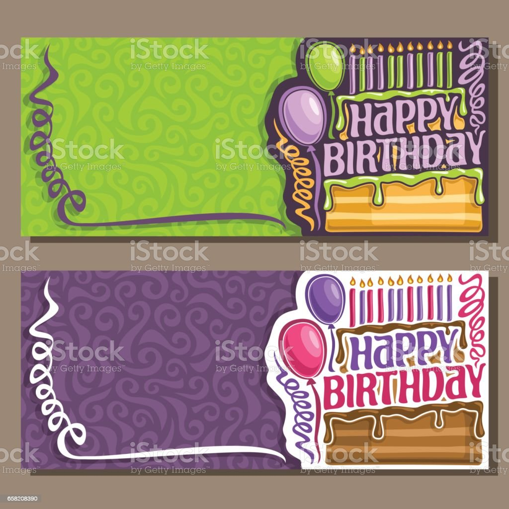 Vector cards Happy Birthday vector art illustration
