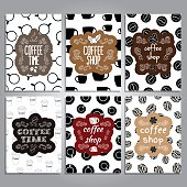 vector cards with coffee theme design