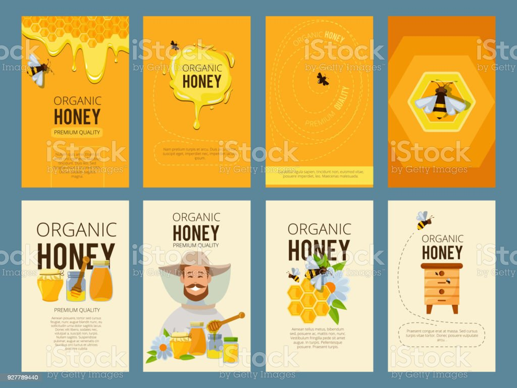 Vector cards with illustrations of apiary. Pictures of honey, beehive and waxing – artystyczna grafika wektorowa