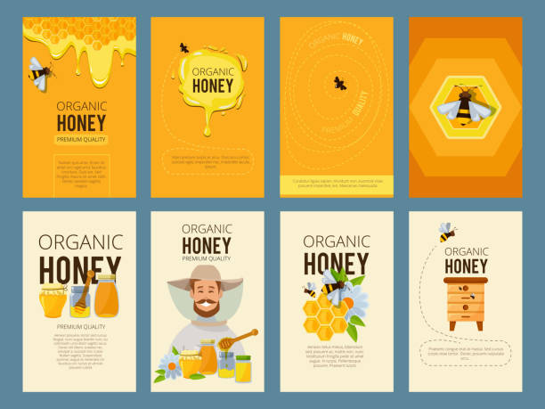 Vector cards with illustrations of apiary. Pictures of honey, beehive and waxing Vector cards with illustrations of apiary. Pictures of honey, beehive and waxing. Beekeeping and sweet golden honey beehive stock illustrations
