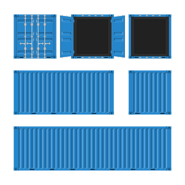 Vector cargo container set. Blue cargo container for shipping in flat style. Front, Back and Side view. Transportation Container isolated on white background. Freight Shipping concept. Vector illustration EPS 10. container stock illustrations