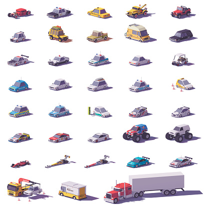 Vector cars and trucks icon set